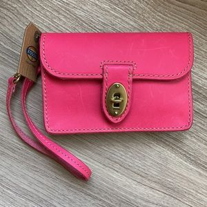 Fossil wristlet clutch wallet leather pink